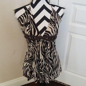 Sky Brown Zebra Top